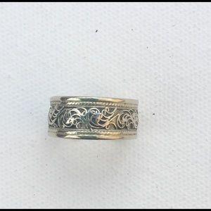 Adjustable Silver Ring w/ Scroll Design